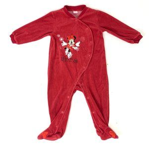3/$25 Minnie Mouse Ice Skating Red Bodysuit 12-18M